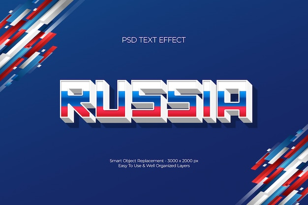 Rusland drie kleuren wit blauw rood 3d teksteffect concept Premium Psd