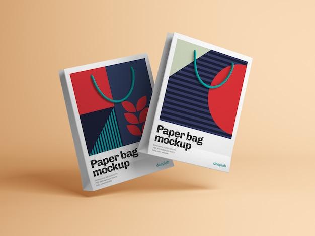 Sacchetto di carta con design modificabile mockup psd Psd Premium