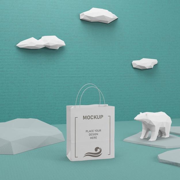 Sacchetto di carta sostenibile con mock-up Psd Gratuite