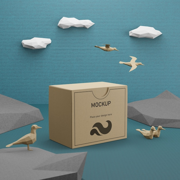 Sacco di carta kraft con il concetto degli uccelli per il giorno dell'oceano Psd Gratuite