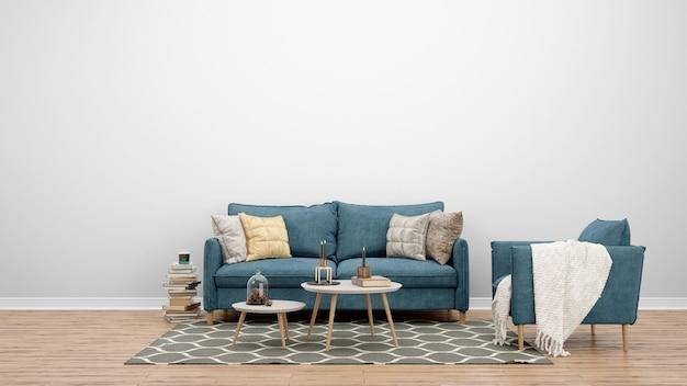 Sala de estar mínima con sofá y alfombra clásicos, ideas de diseño de interiores. PSD gratuito
