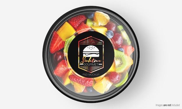 Salade box mockup met label op fruitsalade Premium Psd