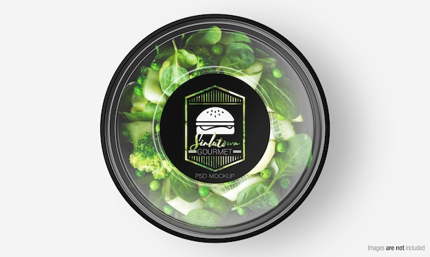 Salade box mockup met label op groene salade Premium Psd