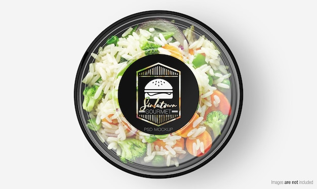 Salade box mockup met label op plantaardige rijst Premium Psd