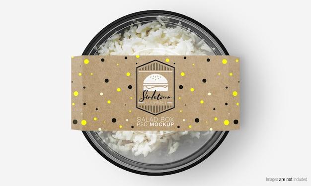 Salade doos mockup met papieren deksel op rijst Premium Psd