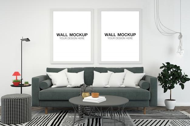 Salone interno casa mockup Psd Premium