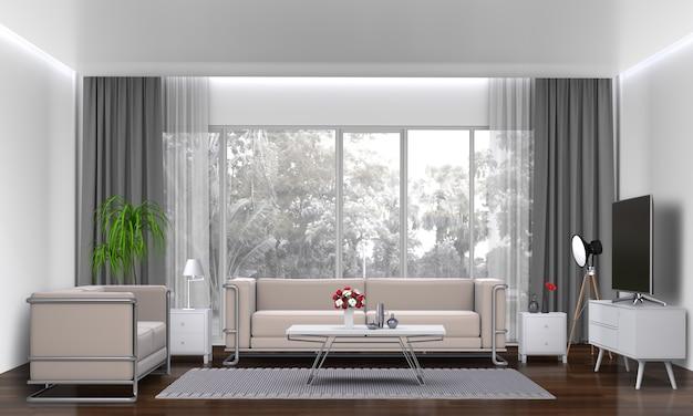Salone interno con divano, pianta, lampada, smart tv., rendering 3d Psd Premium