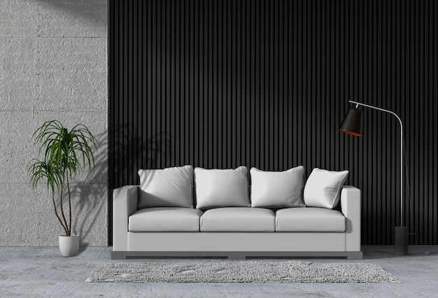 Salone moderno interno con divano, pianta, lampada Psd Premium