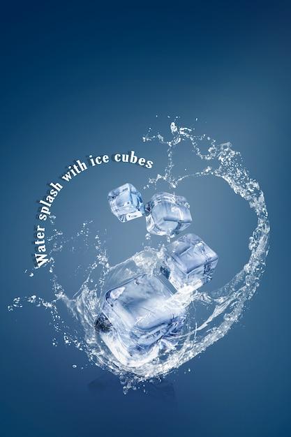 Salpicaduras de agua con cubitos de hielo aislados sobre un fondo azul y espacio de copia PSD Premium