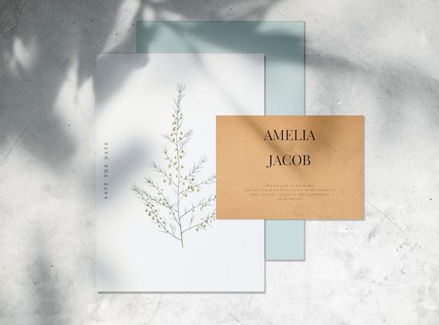Salva il mockup della carta dell'invito per matrimonio data Psd Gratuite