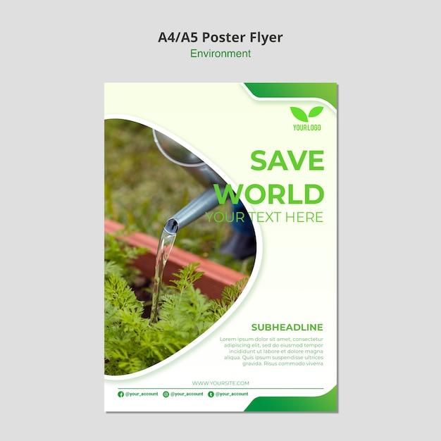Salva il modello di volantino ambientale mondiale Psd Gratuite