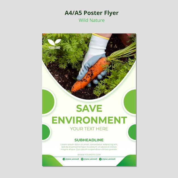 Salvare il modello di poster ambientale del pianeta Psd Gratuite