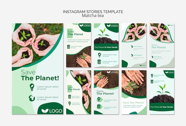 Save the planet instagram stories template Gratis Psd