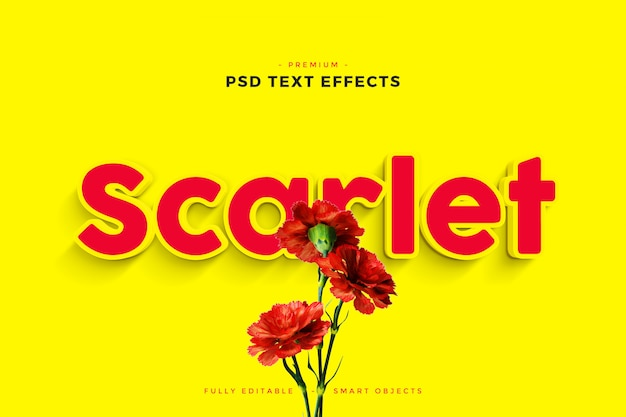 Scarlet text effect mockup Premium Psd