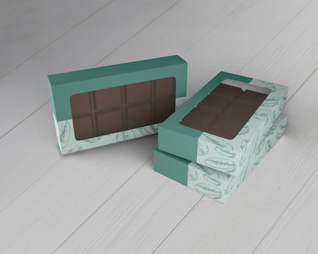 Scatola di design al cioccolato mock-up Psd Gratuite