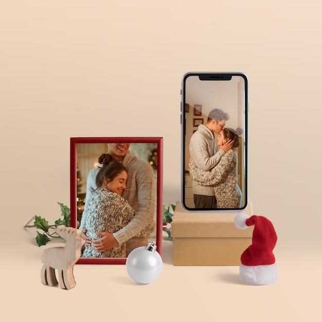 Scène maker mockup met kerst concept Gratis Psd