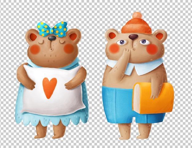 Schattige beren hand getekende illustraties Premium Psd
