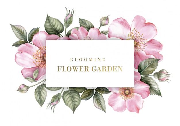 Scheda dell'invito con l'illustrazione botanica di sakura. Psd Premium