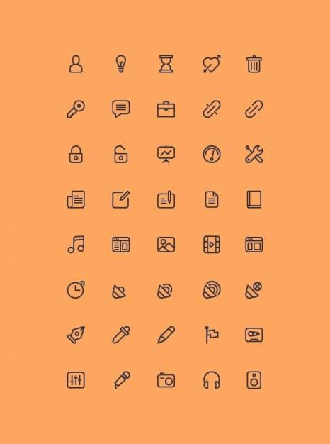 Schets iconen collectie psd Gratis Psd