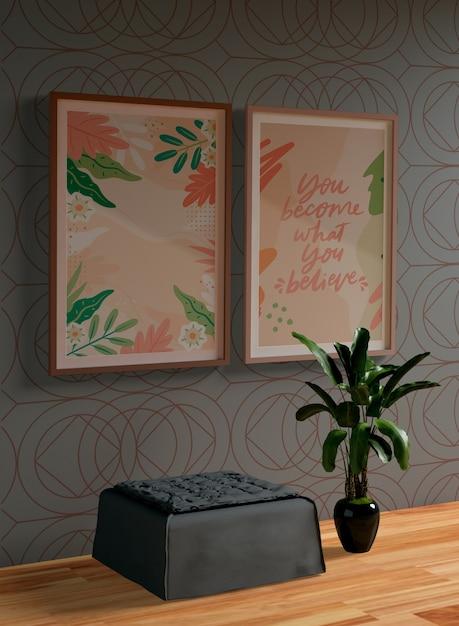 Schilderij kaders mock-up op muur Gratis Psd