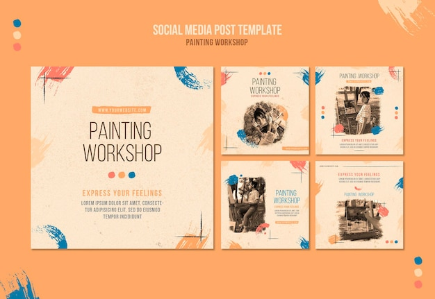 Schilderworkshop social media posts Gratis Psd
