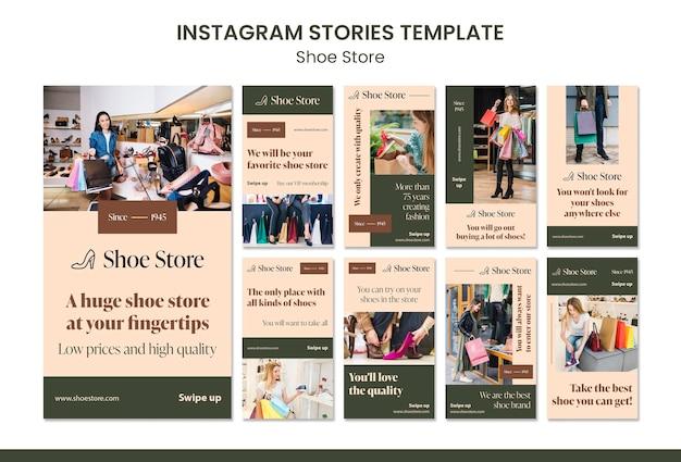 Schoenwinkel concept instagram verhalen sjabloon Premium Psd