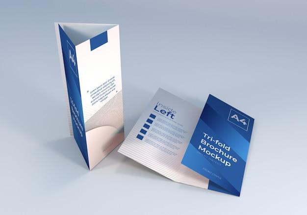 Schone a4 driebladige brochure mockup ontwerp Premium Psd