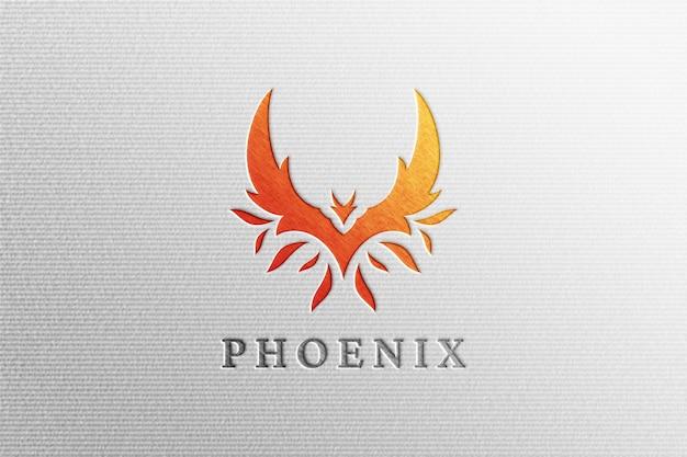 Schone brief gedrukt phoenix logo mockup op wit papier Premium Psd