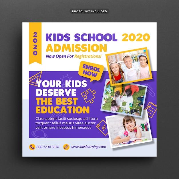 School onderwijs toelating social media post & web banner Premium Psd