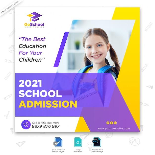 School toelating marketing social media post of vierkante flyer-sjabloon Premium Psd