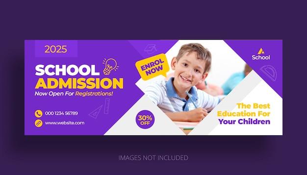 Schoolonderwijs toelating facebook tijdlijn voorbladsjabloon Premium Psd