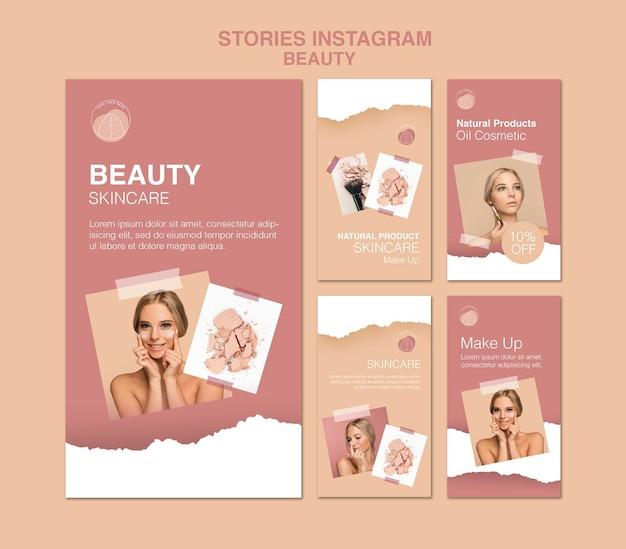 Schoonheid concept instagram verhalen sjabloon Premium Psd