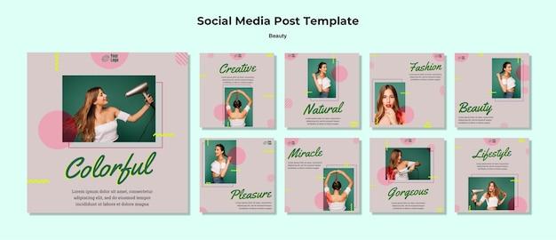 Schoonheid concept sociale media post sjabloon Premium Psd