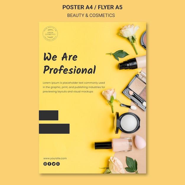 Schoonheid & cosmetica concept folder sjabloon Gratis Psd