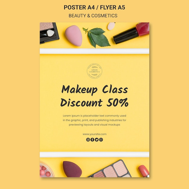 Schoonheid & cosmetica concept poster sjabloon Gratis Psd