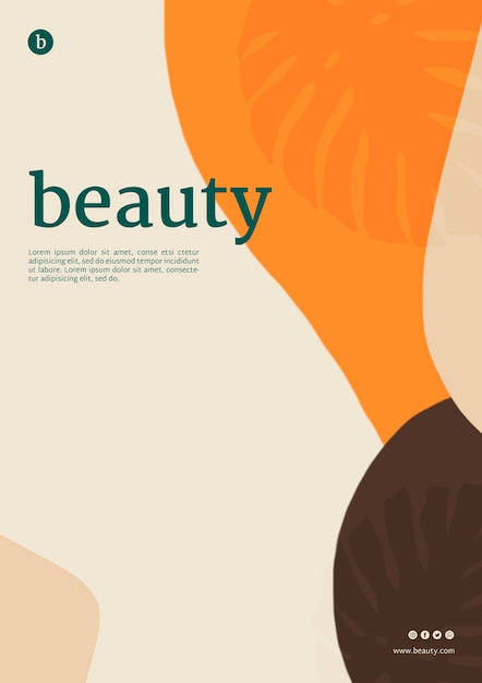 Schoonheid poster sjabloon met vloeiende vormen Gratis Psd