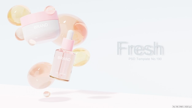 Schoonheidsproduct met roze waterbel. 3d render Premium Psd