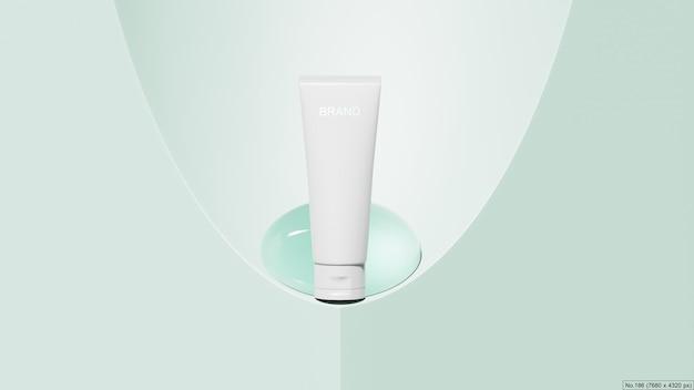 Schoonheidsproduct met waterbel op groene achtergrond. 3d render Premium Psd