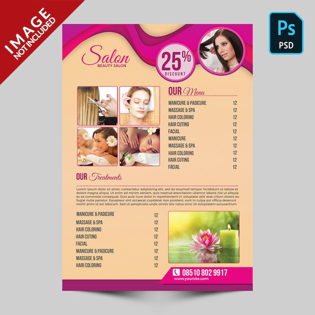 Schoonheidssalon flyer Premium Psd