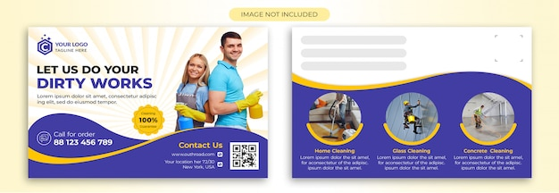Schoonmaak briefkaart sjabloon Premium Psd