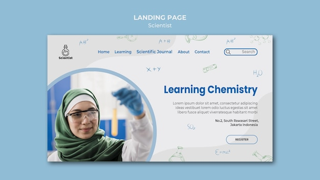 Science club-bestemmingspagina-sjabloon Gratis Psd