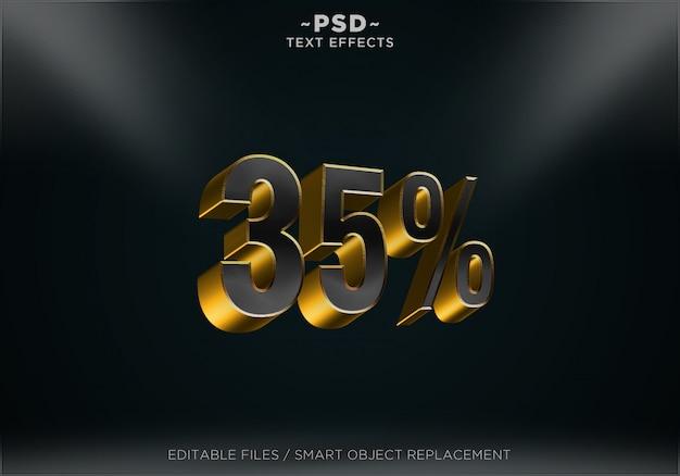 Sconto reale nero 35% effetti di testo modificabili Psd Premium