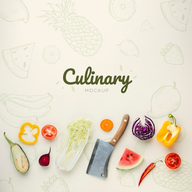 Scritte culinarie con scarabocchi e verdure Psd Gratuite