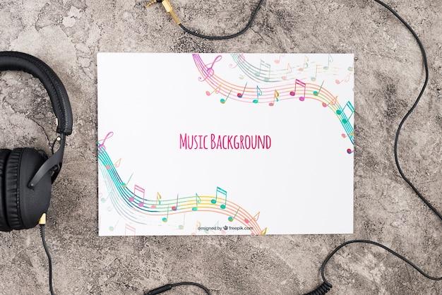 Scrivania con design in carta musicale Psd Gratuite