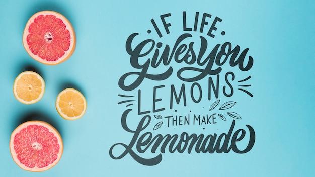 Se la vita ti dà limoni, quindi fare limonata, citazione lettering motivazionale Psd Gratuite