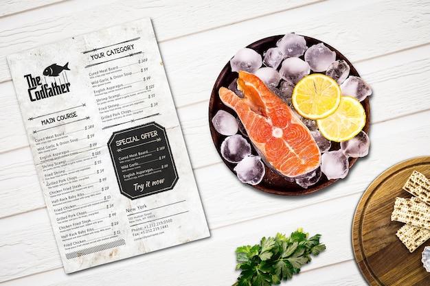 Seafood restaurant menu mockup Premium Psd