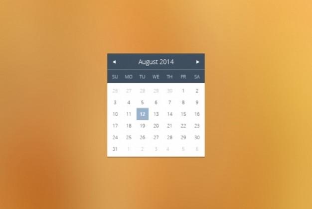 Semplice widget di calendario nel design piatto Psd Gratuite
