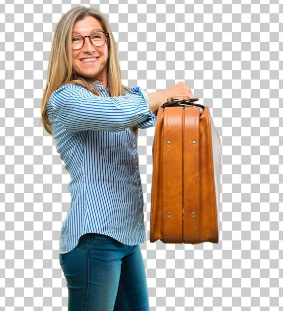 Senior bella donna con un bagaglio valigetta in pelle Psd Premium
