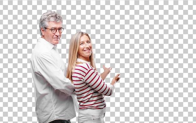 Senior cool marito e moglie sorridente con uno sguardo fiero, soddisfatto e felice Psd Premium