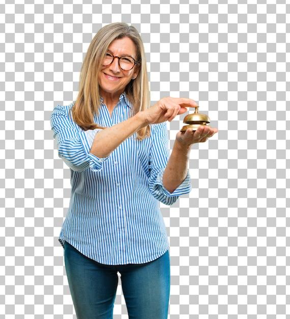 Senior mujer hermosa con un anillo de campana PSD Premium
